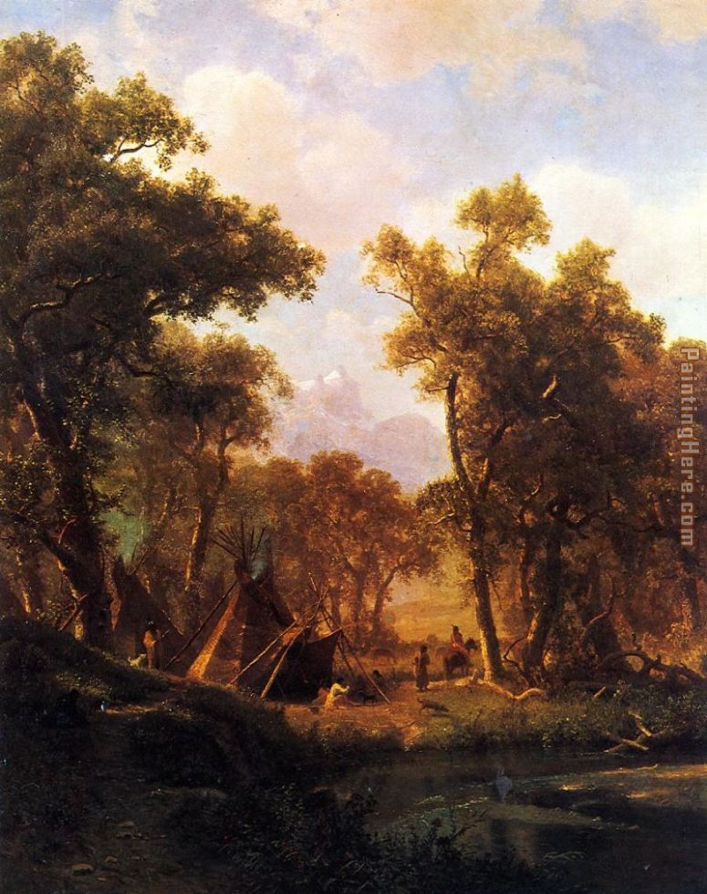 Albert Bierstadt Indian Encampment, Shoshone Village Art Painting