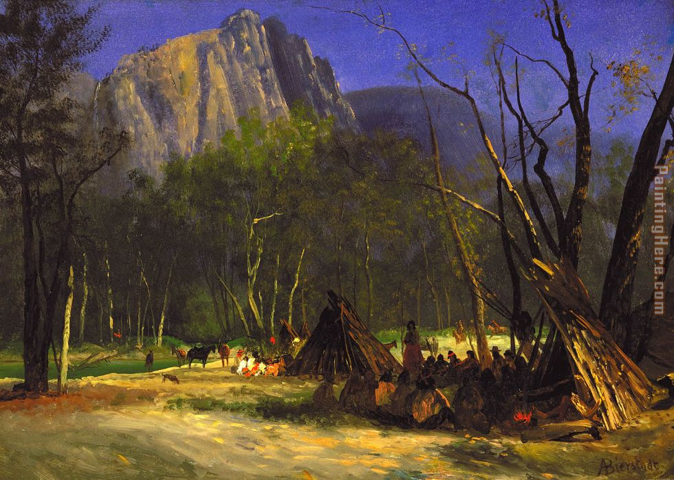 Indians in Council, California painting - Albert Bierstadt Indians in Council, California art painting