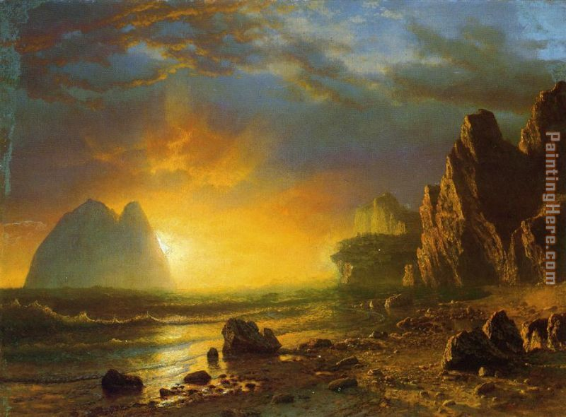 Sunset on the Coast painting - Albert Bierstadt Sunset on the Coast art painting