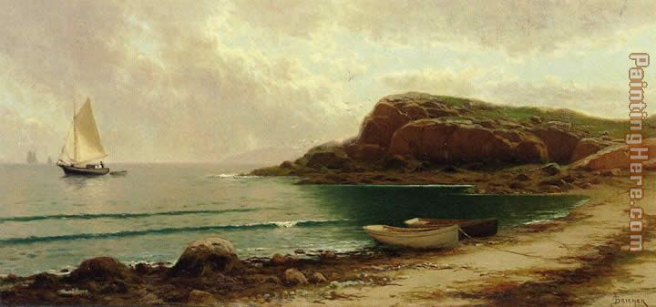 Seascape with Dories and Sailboats painting - Alfred Thompson Bricher Seascape with Dories and Sailboats art painting