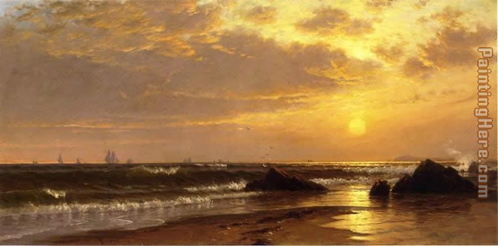 Seascape with Sunset painting - Alfred Thompson Bricher Seascape with Sunset art painting