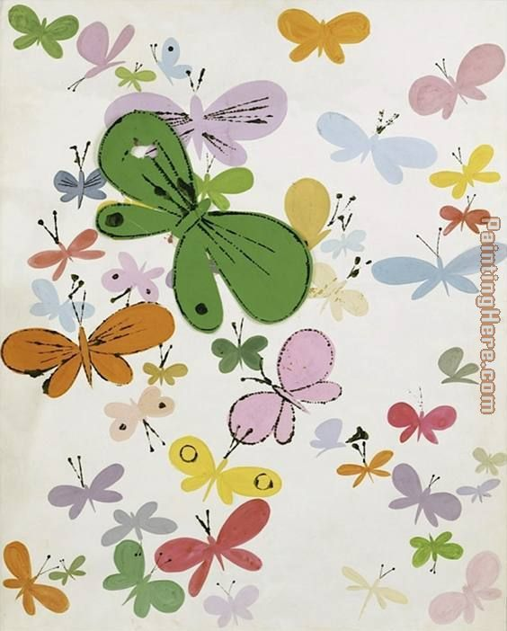Andy Warhol Butterflies big green in middle Art Painting