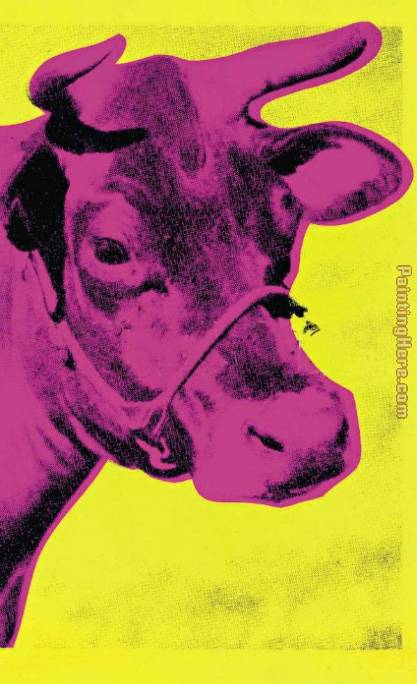 Andy Warhol Cow Pink on Yellow Art Painting
