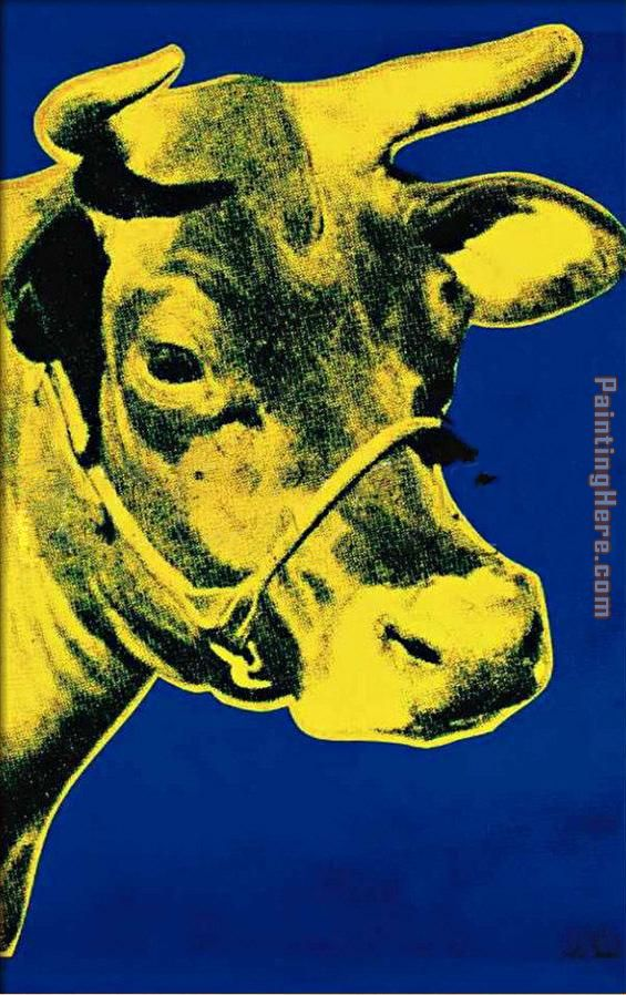 Andy Warhol Cow Yellow on Blue Background Art Painting