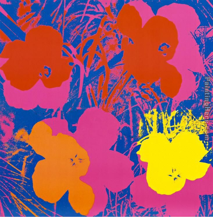 Andy Warhol Flowers, 1970 (Red, Yellow, Orange on Blue Art Painting