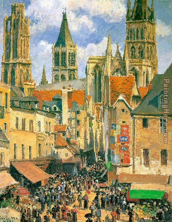 The Old Market at Rouen painting - Camille Pissarro The Old Market at Rouen art painting