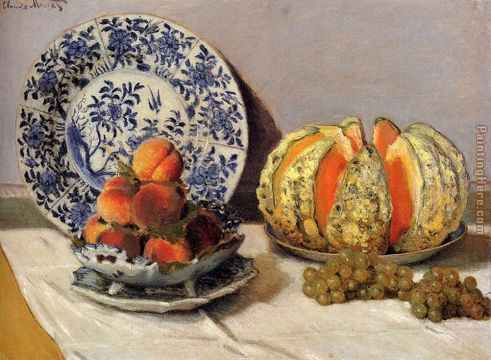 Claude Monet Still Life With Melon Art Painting
