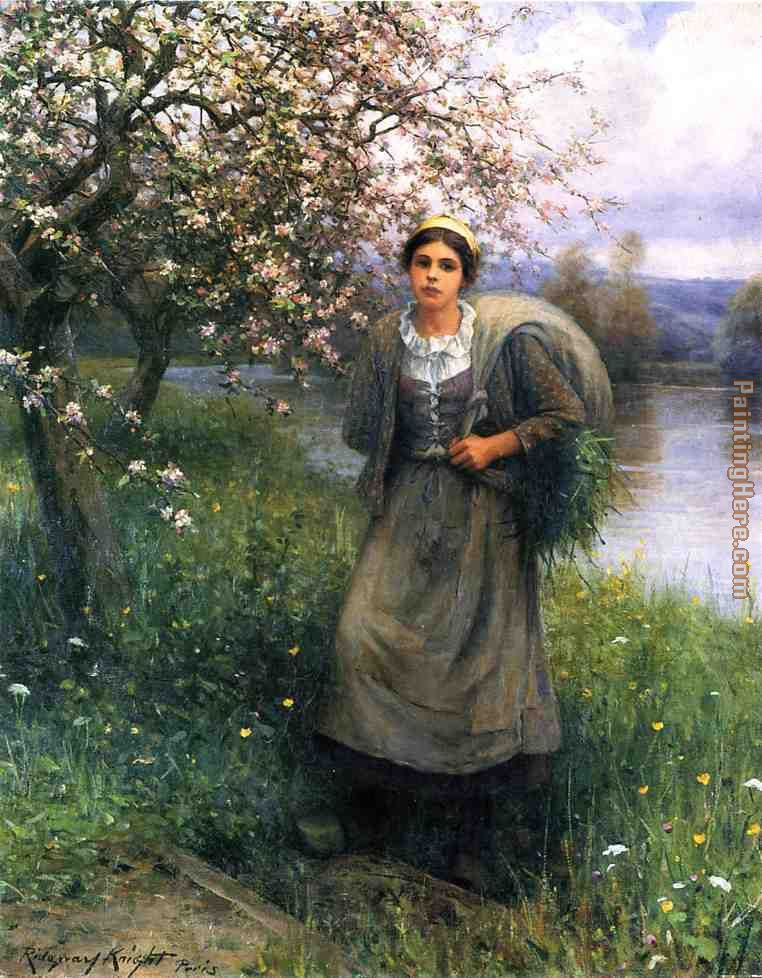Daniel Ridgway Knight Apple Blossoms in Normandy Art Painting