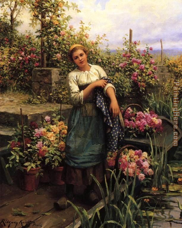 The Flower Boat painting - Daniel Ridgway Knight The Flower Boat art painting