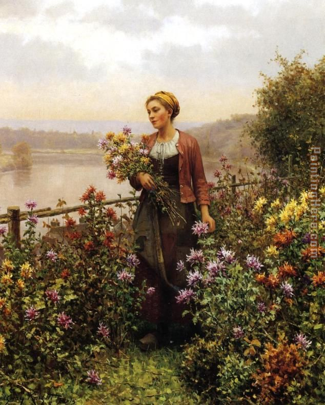 Woman in a Garden painting - Daniel Ridgway Knight Woman in a Garden art painting