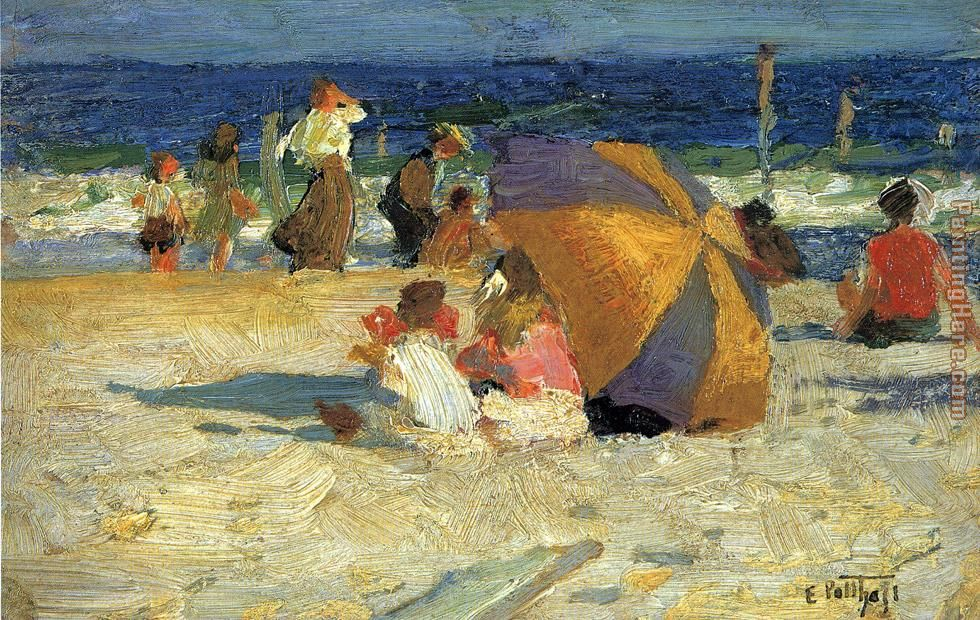 Edward Henry Potthast Beach Umbrella Art Painting
