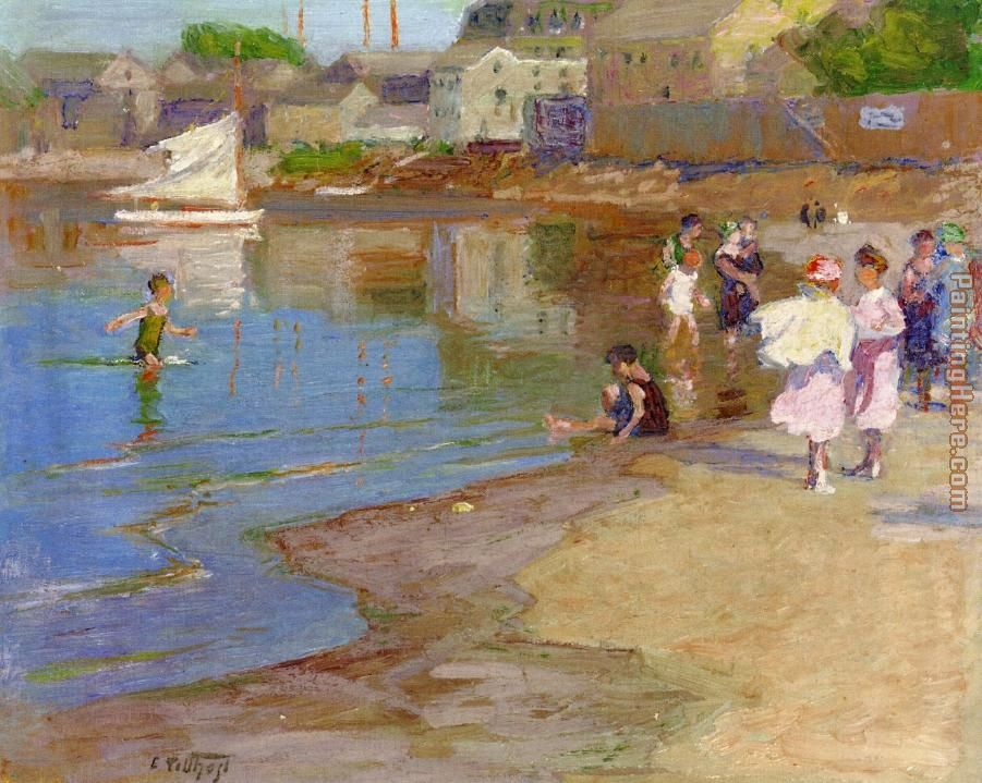 Edward Henry Potthast Children Playing at the Beach Art Painting
