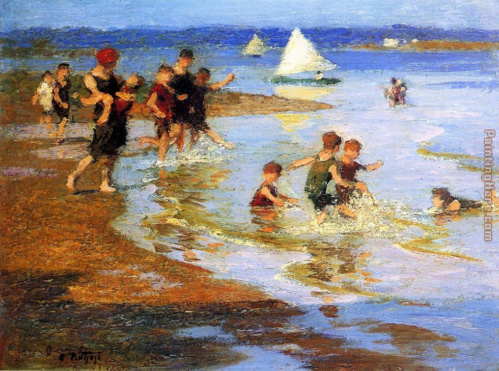 Edward Henry Potthast Children at Play on the Beach Art Painting
