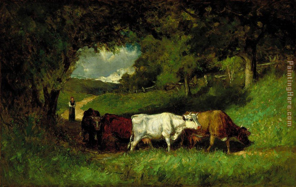 Driving Home the Cows painting - Edward Mitchell Bannister Driving Home the Cows art painting