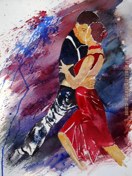 Dancing Tango painting - Flamenco Dancer Dancing Tango art painting