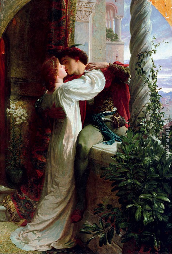 Romeo and Juliet cropped painting - Frank Dicksee Romeo and Juliet cropped art painting