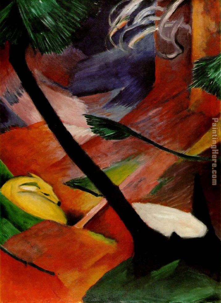 Franz Marc Deer in the Woods II Art Painting