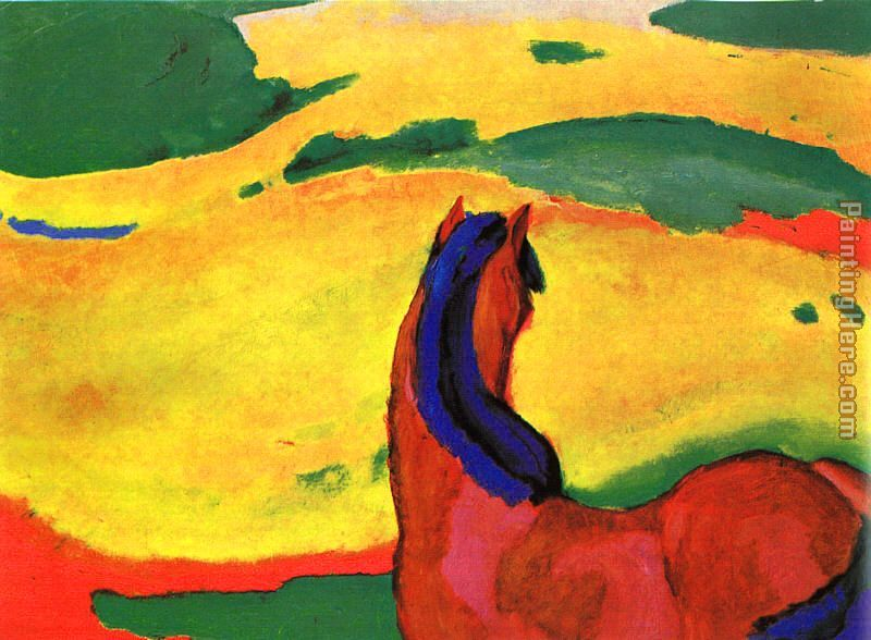 Franz Marc Horse in a Landscape Art Painting