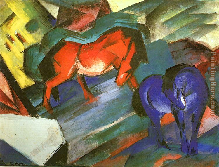 Red and Blue Horse painting - Franz Marc Red and Blue Horse art painting