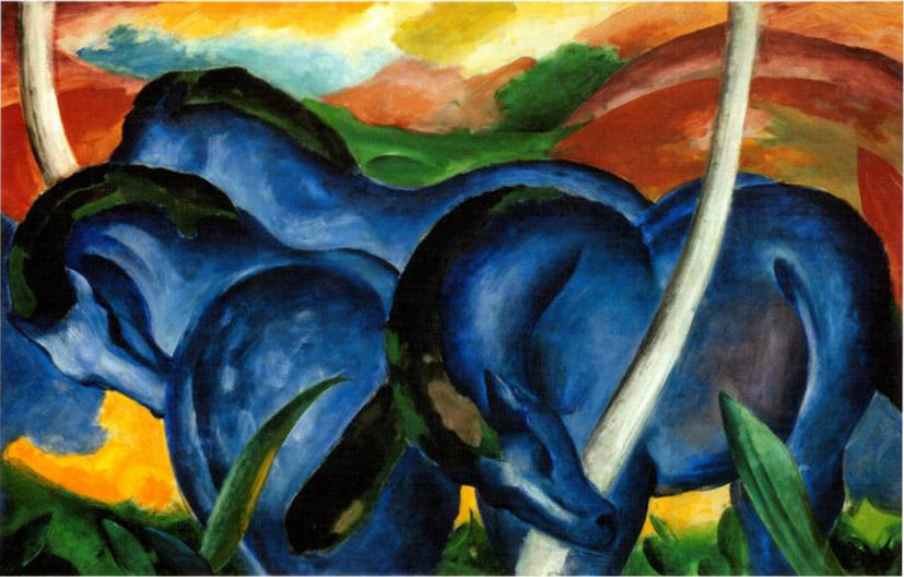 Franz Marc The Large Blue Horses Art Painting