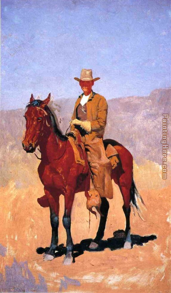 Frederic Remington Mounted Cowboy in Chaps with Race Horse Art Painting