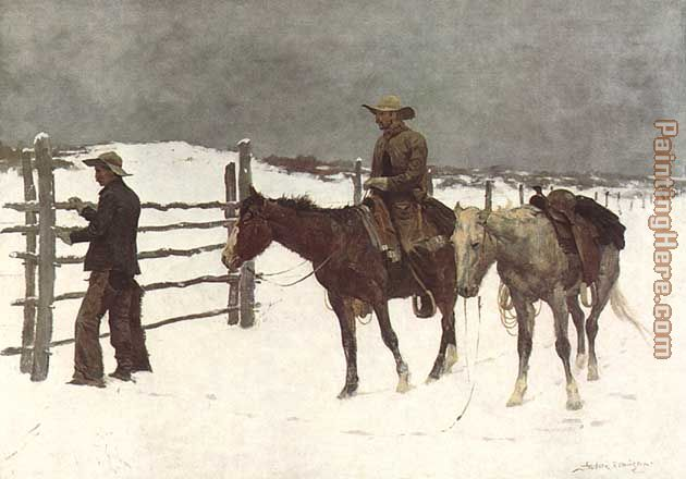The Fall of the Cowboy painting - Frederic Remington The Fall of the Cowboy art painting