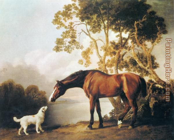 George Stubbs Bay Horse and White Dog Art Painting