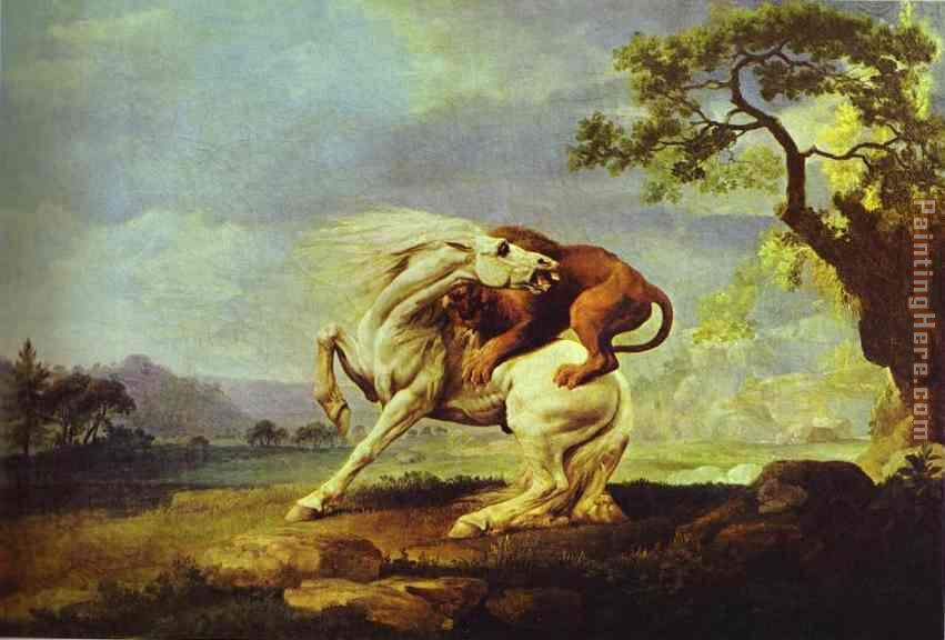 Horse Attacked by a Lion painting - George Stubbs Horse Attacked by a Lion art painting