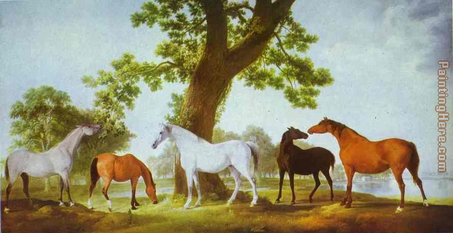Mares by an Oak-Tree painting - George Stubbs Mares by an Oak-Tree art painting