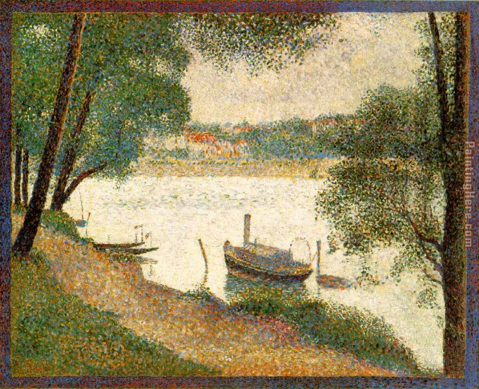 Gray weather Grande Jatte painting - Georges Seurat Gray weather Grande Jatte art painting