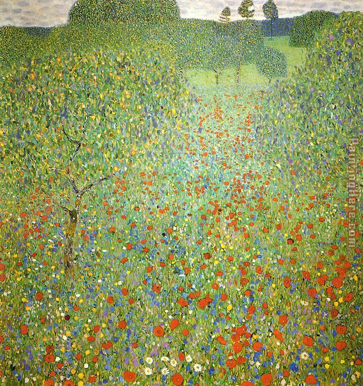 Poppy Field painting - Gustav Klimt Poppy Field art painting