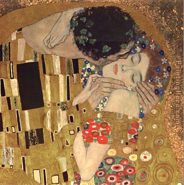 the kiss detail painting - Gustav Klimt the kiss detail art painting