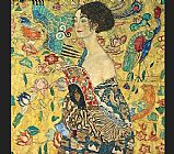 lady with fan I by Gustav Klimt