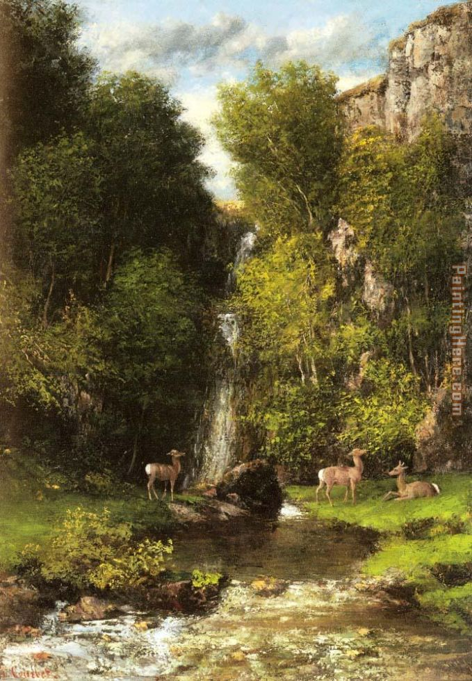 A Family of Deer in a Landscape with a Waterfall painting - Gustave Courbet A Family of Deer in a Landscape with a Waterfall art painting