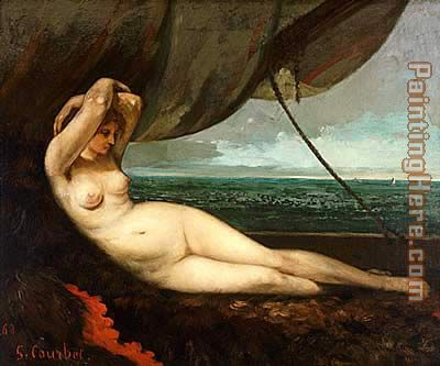 Gustave Courbet Nude reclining by the sea Art Painting