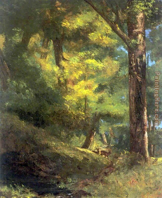 Two Goats in the Forest painting - Gustave Courbet Two Goats in the Forest art painting