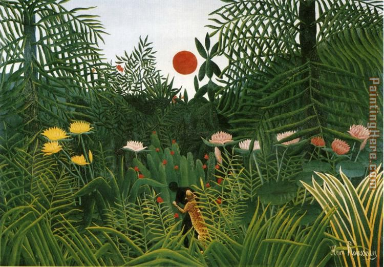 Negro Attacked by a Jaguar painting - Henri Rousseau Negro Attacked by a Jaguar art painting