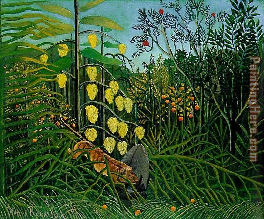 Henri Rousseau The Jungle - Tiger Attacking a Buffalo Art Painting