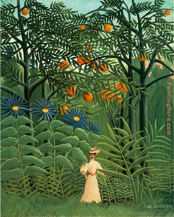 Woman Walking in an Exotic Forest painting - Henri Rousseau Woman Walking in an Exotic Forest art painting