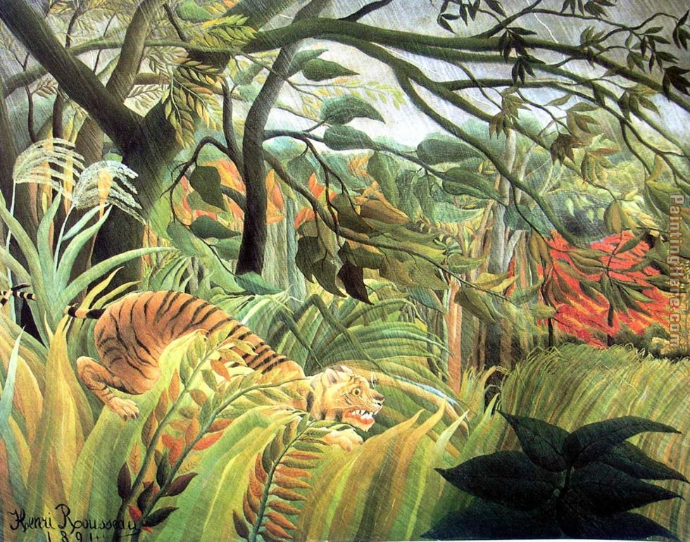 tiger in a tropical storm painting - Henri Rousseau tiger in a tropical storm art painting