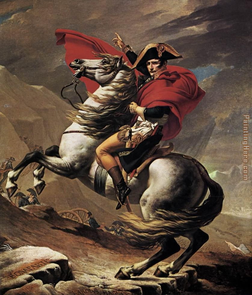 Napoleon crossing the Alps painting - Jacques-Louis David Napoleon crossing the Alps art painting