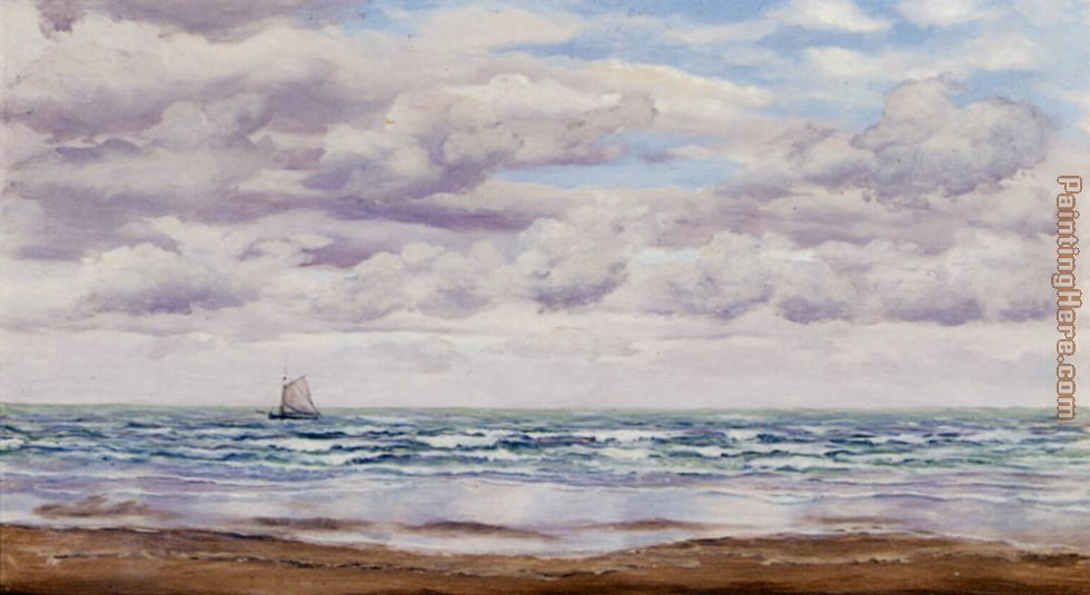 Gathering Clouds, A Fishing Boat Off The Coast painting - John Brett Gathering Clouds, A Fishing Boat Off The Coast art painting