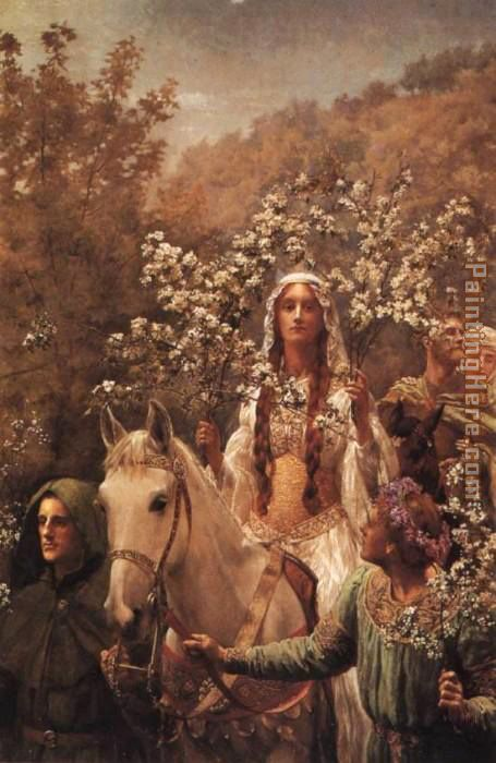 Guinevere's Maying painting - John Collier Guinevere's Maying art painting