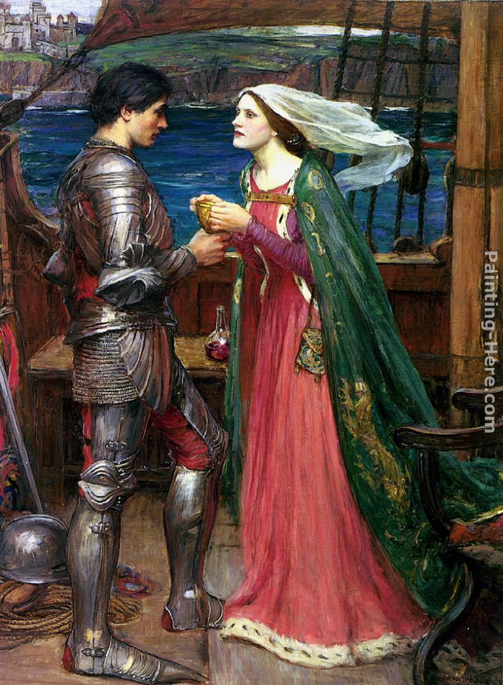 Tristan and Isolde with the Potion painting - John William Waterhouse Tristan and Isolde with the Potion art painting
