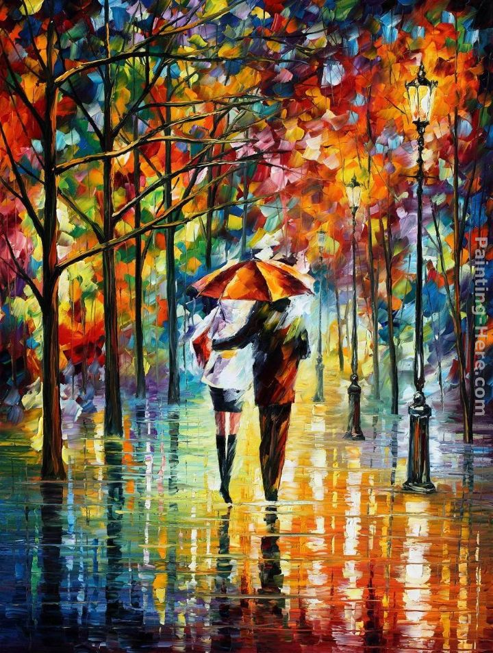 UNDER THE RED UMBRELLA painting - Leonid Afremov UNDER THE RED UMBRELLA art painting