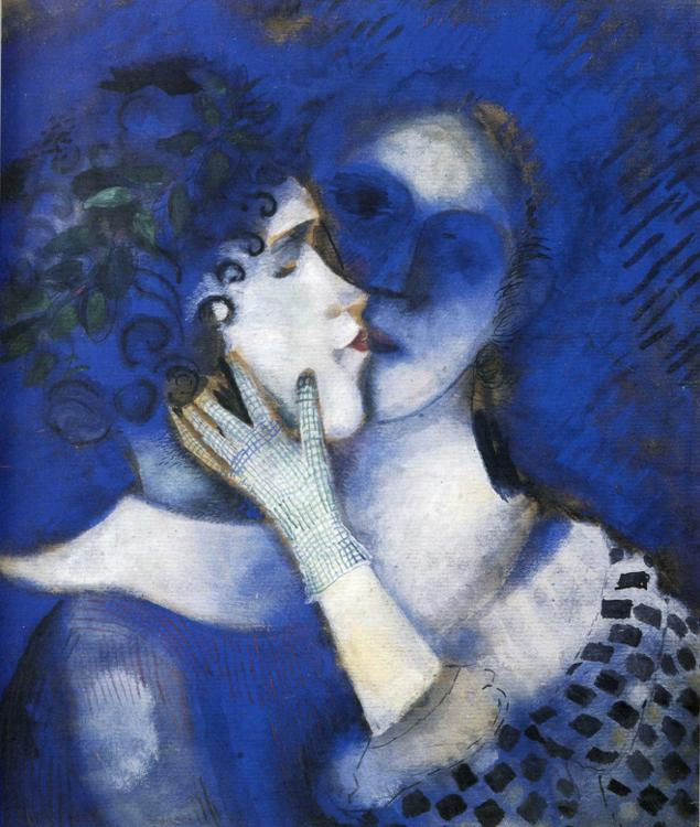 Blue Lovers painting - Marc Chagall Blue Lovers art painting