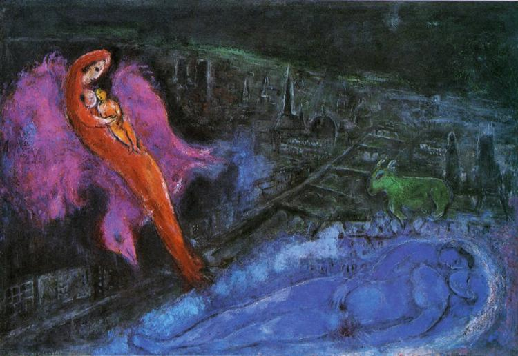 Marc Chagall Bridges over the Seine Art Painting