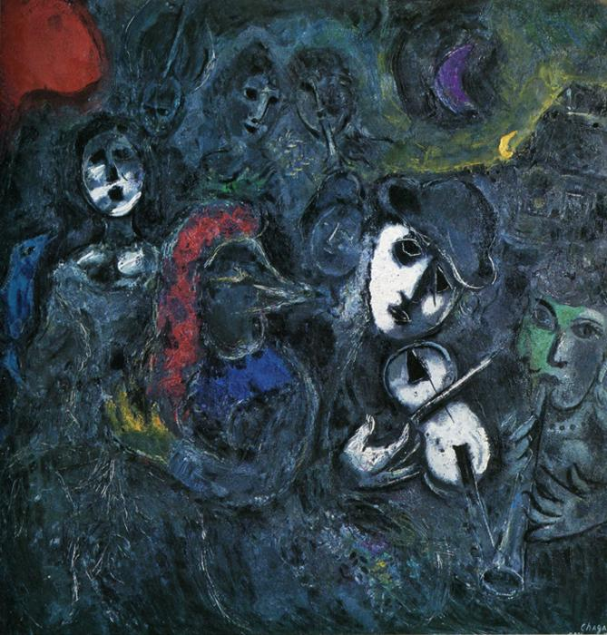 Clowns at Night painting - Marc Chagall Clowns at Night art painting