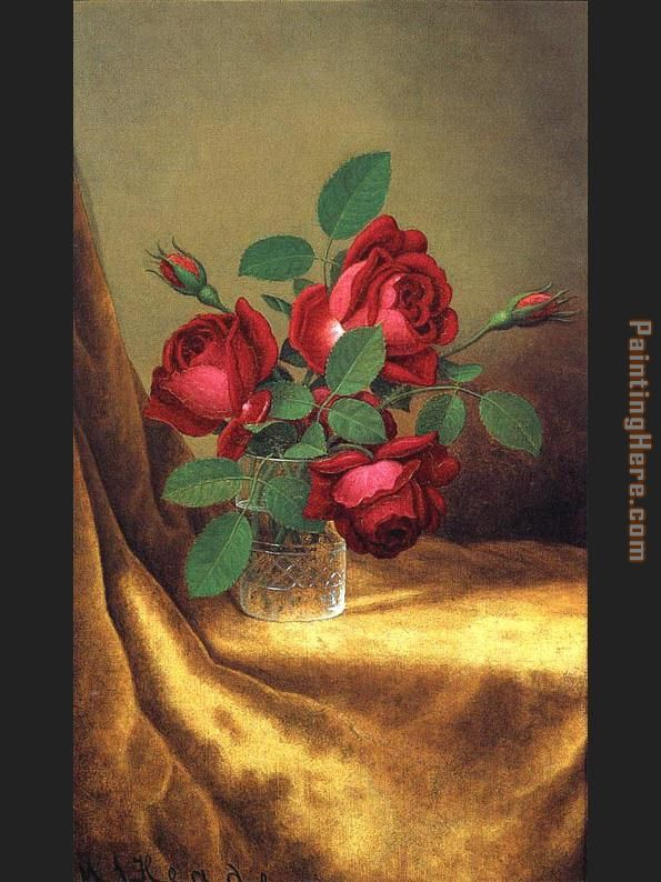 Red Roses in a Crystal Goblet painting - Martin Johnson Heade Red Roses in a Crystal Goblet art painting