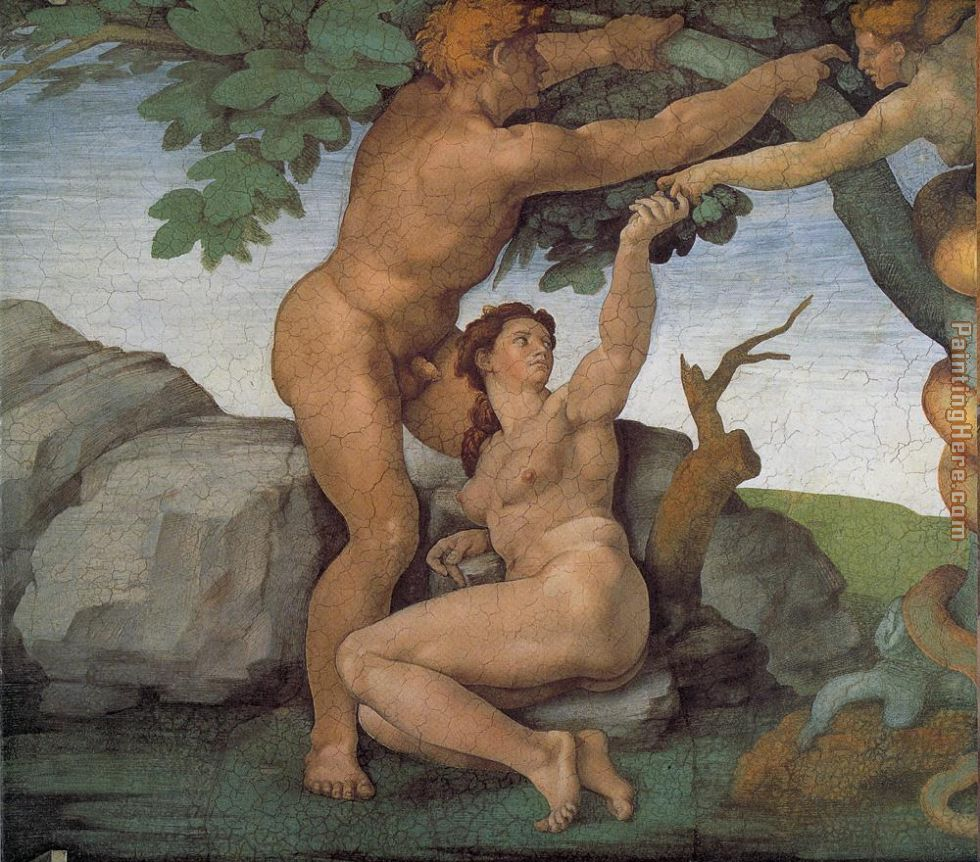 Genesis The Fall and Expulsion from Paradise The Original Sin painting - Michelangelo Buonarroti Genesis The Fall and Expulsion from Paradise The Original Sin art painting